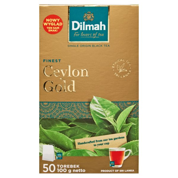 Dilmah Finest Ceylon Gold Klasyczna czarna herbata 100 g (50 x 2 g)