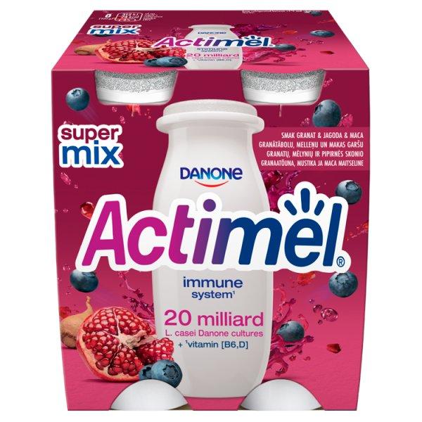 Danone Actimel Mleko fermentowane o smaku granat-jagoda-maca 400 g (4 x 100 g)