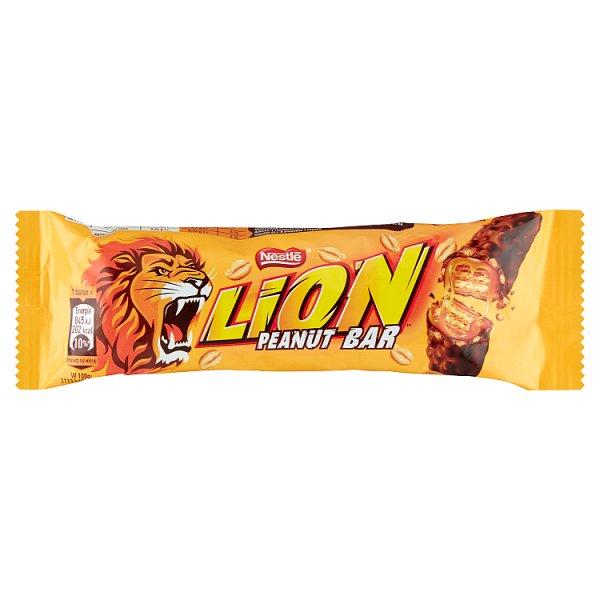 Lion Peanut Bar Nadziewany wafel z karmelem płatkami pszennymi orzechami w polewie kakaowej 40 g