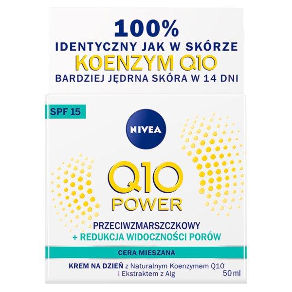 NIVEA Q10 Power Przeciwzmarszczkowy + Redukcja widoczności porów Krem na dzień SPF 15 50 ml