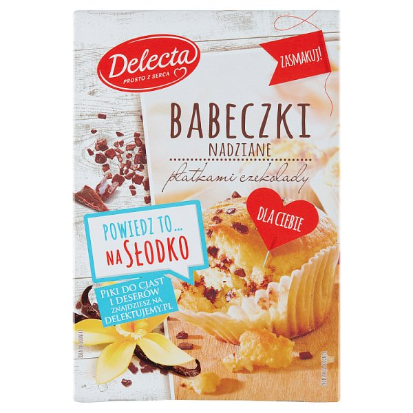 Delecta Babeczki nadziane płatkami czekolady mieszanka do wypieku ciasta 280 g