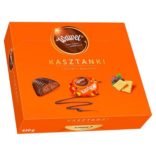 Wawel Kasztanki kakaowe z wafelkami Czekoladki nadziewane 430 g