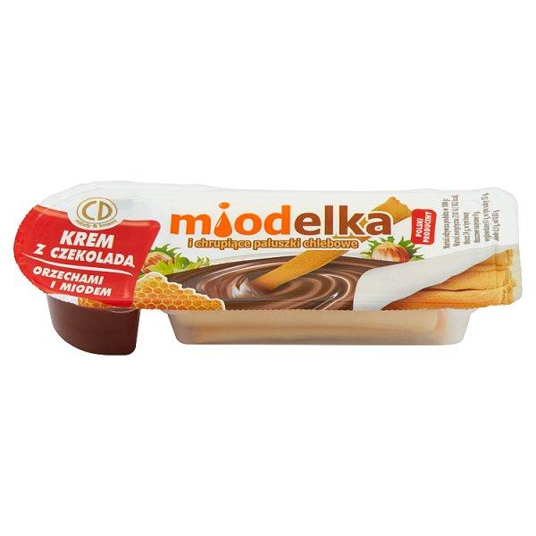 Miodelka Krem z czekoladą orzechami i miodem i chrupiące paluszki chlebowe 25 g