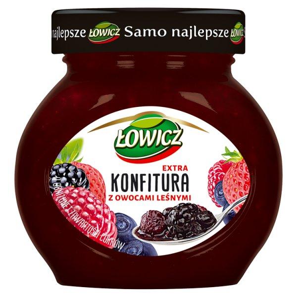 Łowicz Konfitura extra z owocami leśnymi o obniżonej zawartości cukrów 240 g