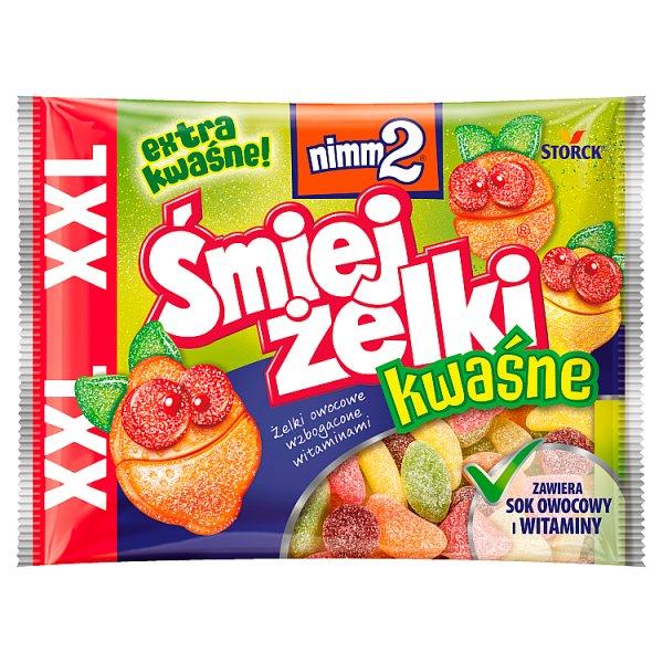 nimm2 Śmiejżelki kwaśne Żelki owocowe wzbogacone witaminami 180 g