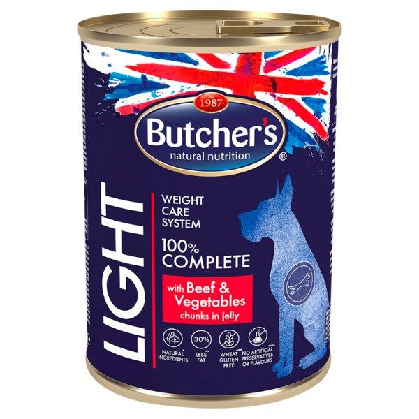 Butcher's Light Karma dla dorosłych psów kawałki w galaretce z wołowiną i warzywami 400 g