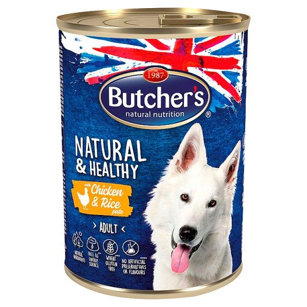 Butcher's Natural & Healthy Karma dla dorosłych psów pasztet z kurczakiem i ryżem 390 g