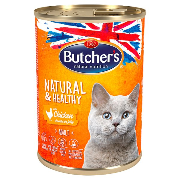 Butcher's Natural&Healthy Karma dla dorosłych kotów kawałki w galaretce z kurczakiem 400 g