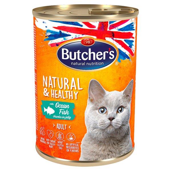 Butcher's Natural&Healthy Karma dla dorosłych kotów kawałki w galaretce z rybą morską 400 g
