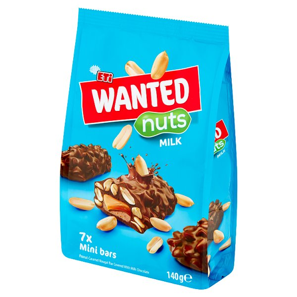 Eti Wanted Baton nugatowy z orzeszkami ziemnymi i karmelem pokryty czekoladą mleczną 140 g