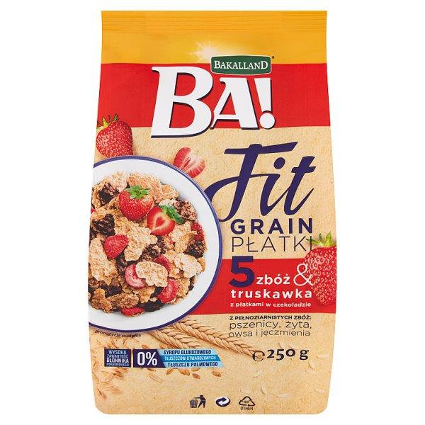Bakalland Ba! Fit Grain Płatki 5 zbóż & truskawka z płatkami w czekoladzie 250 g