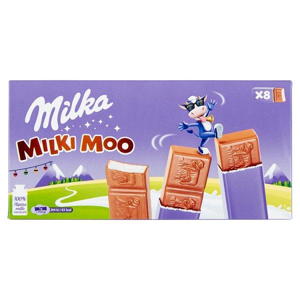 Milka Milki Moo Batoniki z czekolady mlecznej z nadzieniem mlecznym 87,5 g (8 x 10,94 g)