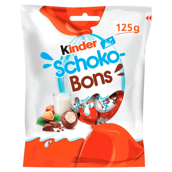 Kinder Schoko-Bons Czekoladki z mlecznej czekolady z nadzieniem mlecznym i orzechami 125 g