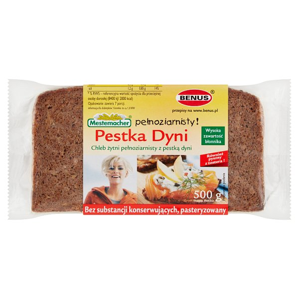 Mestemacher Chleb żytni pełnoziarnisty z pestką dyni 500 g