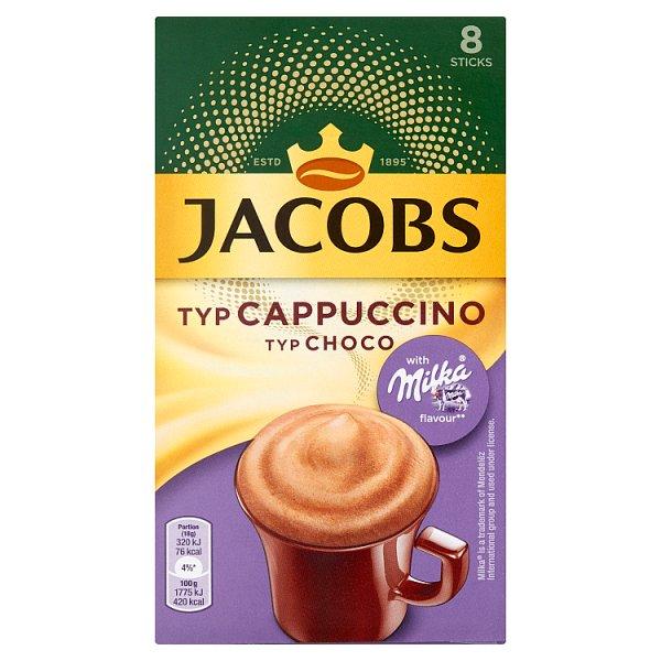 Jacobs Cappuccino Choco Rozpuszczalny napój kawowy o smaku czekolady Milka 144 g (8 x 18 g)