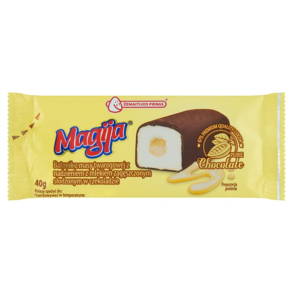 Magija Batonik z masy twarogowej z nadzieniem z mlekiem zagęszczonym słodzonym w czekoladzie 40 g
