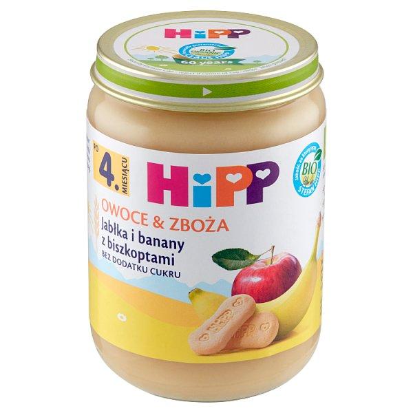 HiPP BIO Owoce & Zboża Jabłka i banany z biszkoptami po 4. miesiącu 190 g