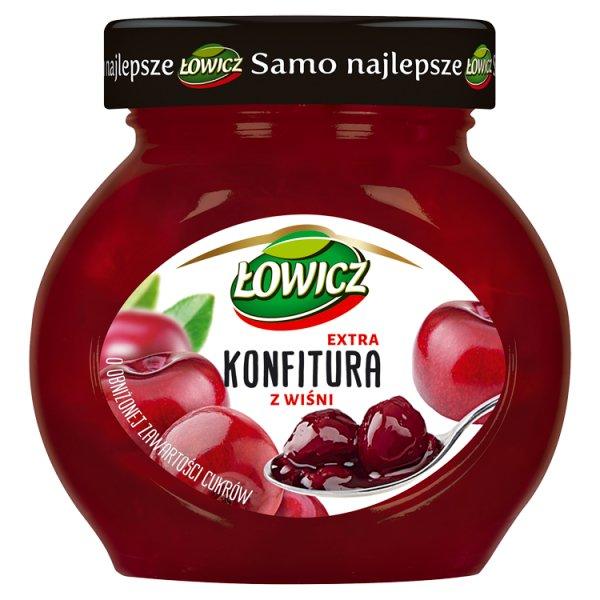 Łowicz Konfitura extra z wiśni o obniżonej zawartości cukrów 240 g