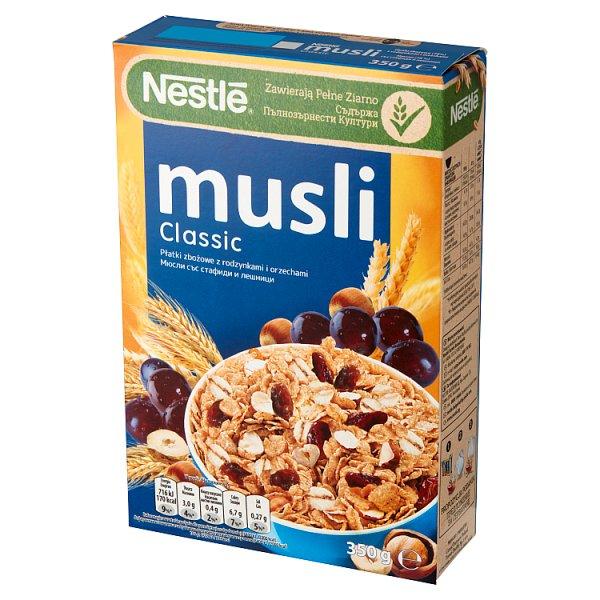 Nestlé Musli Classic Płatki zbożowe z rodzynkami i orzechami 350 g