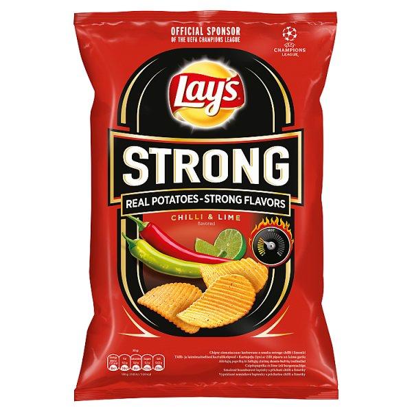 Lay's Strong Chipsy ziemniaczane karbowane o smaku ostrego chilli i limonki 210 g