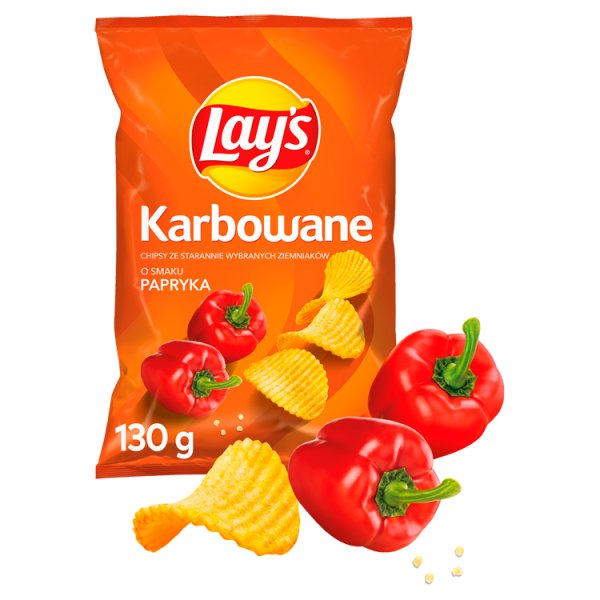Lay's Chipsy ziemniaczane karbowane o smaku papryka 130 g