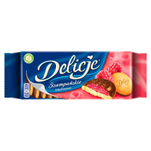 Delicje Szampańskie Biszkopty z galaretką o smaku malinowym oblewane czekoladą 147 g