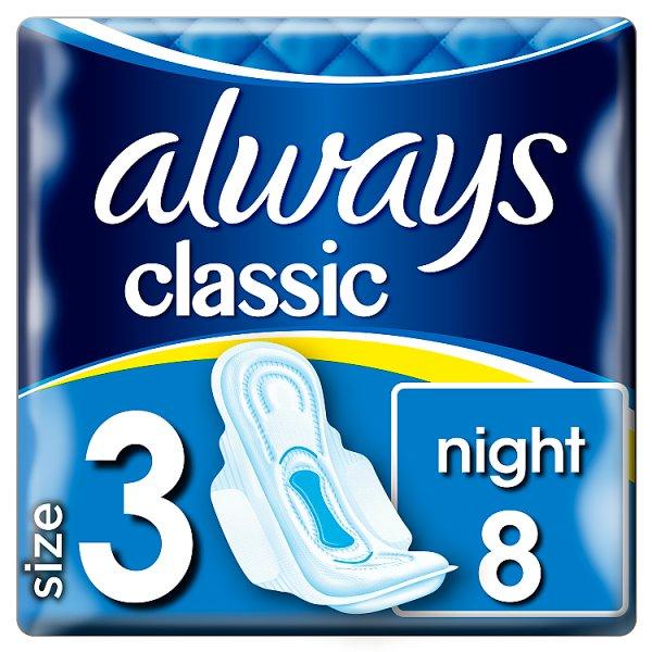 Always Classic Night Podpaski ze skrzydełkami, 8 sztuk