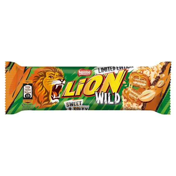 Lion Sweet & Salty Nadziewany wafel z karmelem orzechami płatkami pszennymi i mleczną czekoladą 30 g