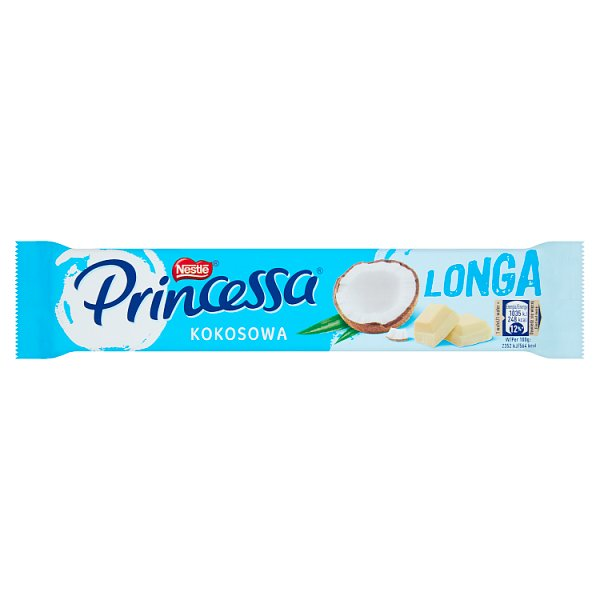 Princessa Longa Wafel przekładany kremem kokosowym oblany białą czekoladą 44 g