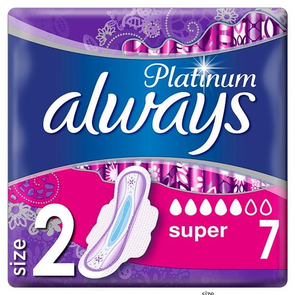 Always Platinum Super (rozmiar 2) Podpaski ze skrzydełkami, 7 sztuk