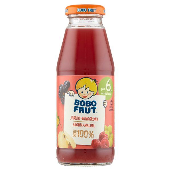 Bobo Frut Sok 100% jabłko winogrona aronia malina po 6. miesiącu 300 ml
