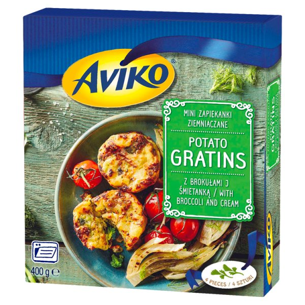 Aviko Mini zapiekanki ziemniaczane z brokułami i śmietanką 400 g (4 sztuki)