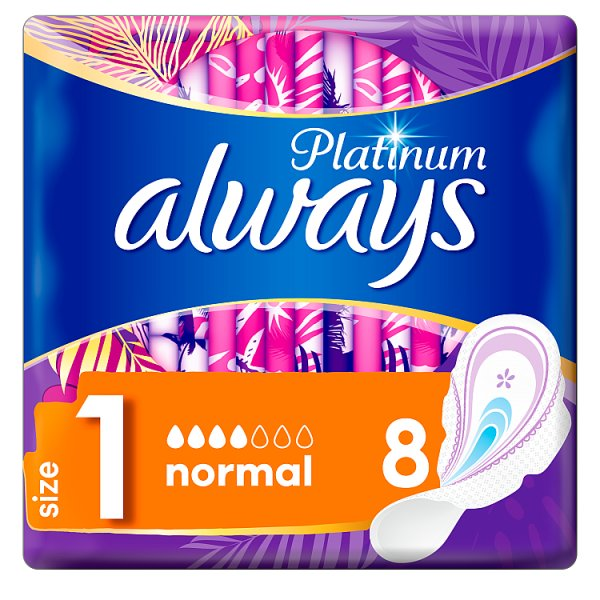 Always Platinum Normal (Rozmiar 1) Podpaski ze skrzydełkami, 8 sztuk