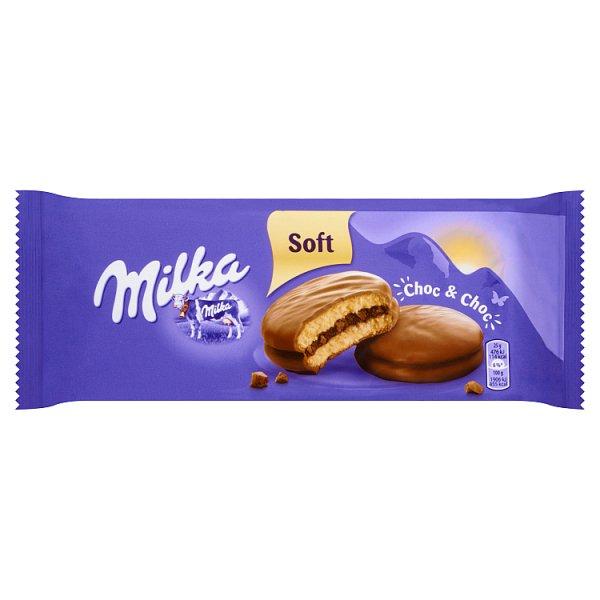 Milka Choc & Choc Ciastka biszkoptowe przekładane nadzieniem kakaowym oblane czekoladą mleczną 150 g