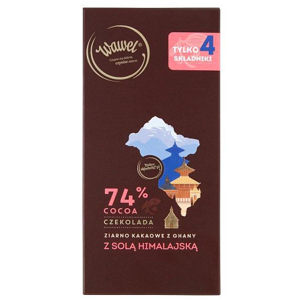 Wawel Czekolada 74% cocoa ziarno kakaowe z Ghany z solą himalajską 100 g