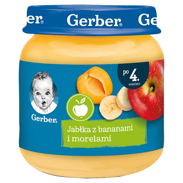 Gerber Jabłka z bananami i morelami dla niemowląt po 4. miesiącu 125 g