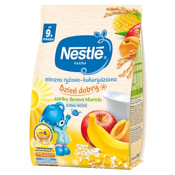 Nestlé Kaszka dzień dobry mleczna ryżowo-kukurydziana jabłko banan morela po 9. miesiącu 230 g