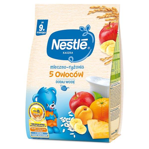Nestlé Kaszka mleczno-ryżowa 5 owoców dla niemowląt po 9. miesiącu 230 g