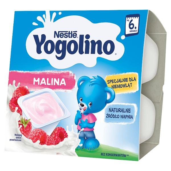 Nestlé Yogolino Deserek mleczno-owocowy malina dla niemowląt po 6. miesiącu 400 g (4 x 100 g)