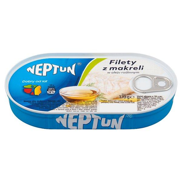 Neptun Filety z makreli w oleju roślinnym 170 g