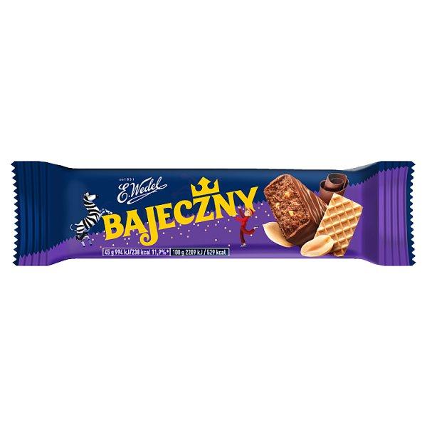E. Wedel Bajeczny Baton orzechowy arachidowy z dodatkiem wafelków w mlecznej czekoladzie 45 g