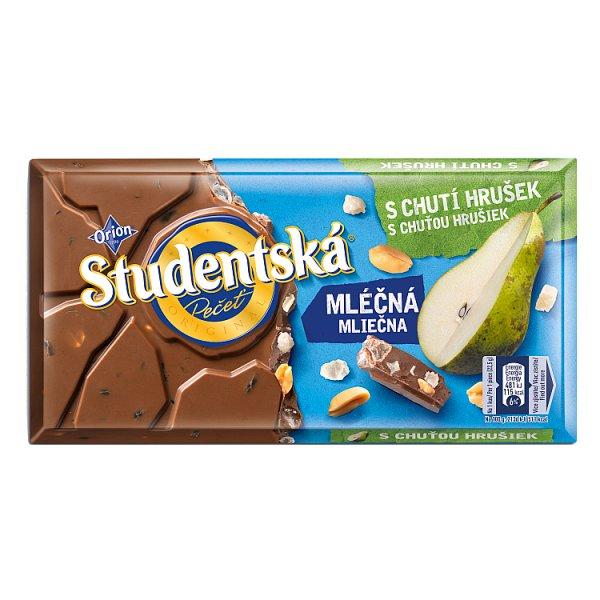 Orion Studentská Czekolada mleczna z orzechami i kawałkami galaretki o smaku gruszkowym 180 g