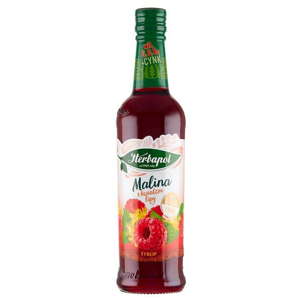Herbapol Suplement diety syrop o smaku malinowym z wyciągiem z kwiatu lipy 420 ml