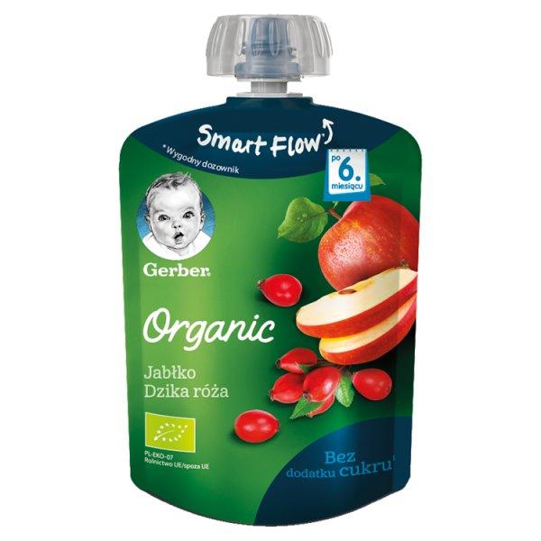 Gerber Organic Deserek Jabłko dzika róża dla niemowląt po 6. miesiącu 90 g
