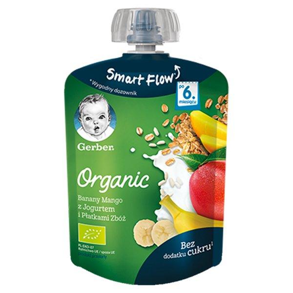 Gerber Organic Deserek Banany mango z jogurtem i płatkami zbóż dla niemowląt po 6. miesiącu 90 g