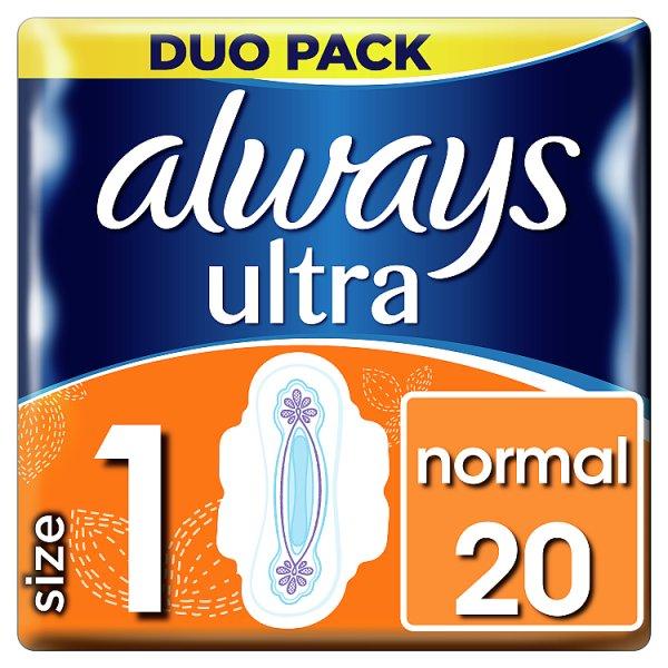 Always Ultra Normal (rozmiar 1) Podpaski ze skrzydełkami, 20 sztuk