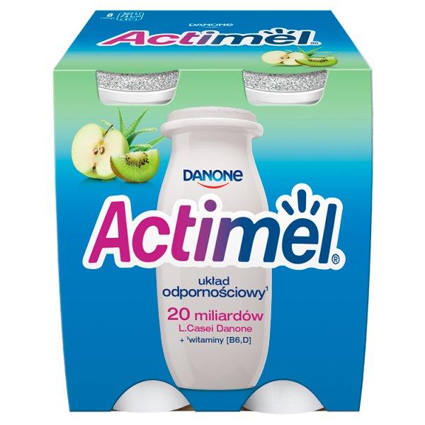 Danone Actimel Mleko fermentowane o smaku jabłko-kiwi-aloes 400 g (4 x 100 g)