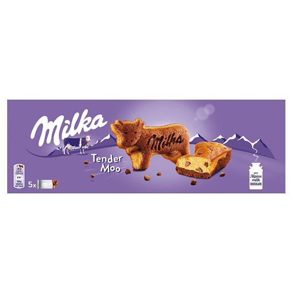 Milka Tender Moo Ciastko biszkoptowe z kawałkami czekolady mlecznej 140 g (5 sztuk)
