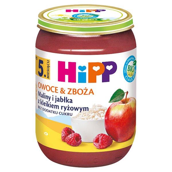 HiPP BIO Owoce & Zboża Maliny i jabłka z kleikiem ryżowym po 5. miesiącu 190 g