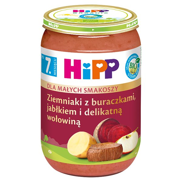 HiPP BIO Dla Małych Smakoszy Ziemniaki z buraczkami jabłkiem delikatną wołowiną po 7. miesiącu 220 g